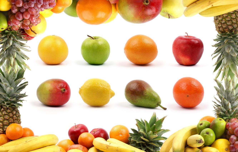 Фото обои креатив, яблоки, апельсины, бананы, белый фон, фрукты, груши, лимоны, ананасы