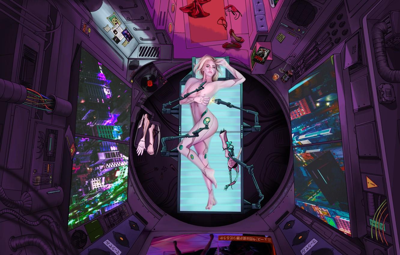 Фото обои Девушка, Будущее, Комната, Арт, Art, Вид сверху, Фантастика, Киборг, Illustration, Concept Art, Технологии, Cyberpunk 2077, ...