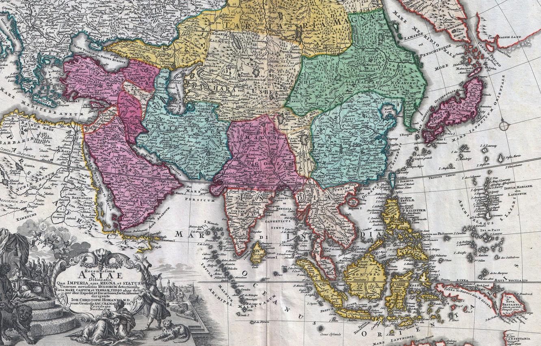 Фото обои old maps, geography, 18th century map of Asia, Johann Christoph Homann, Карта Азии 18 века, …