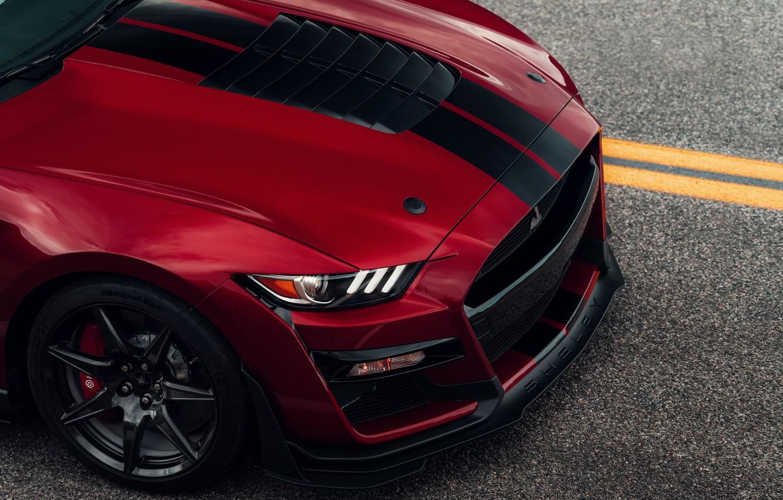 Фото обои Mustang, Ford, Shelby, GT500, капот, кровавый, 2019