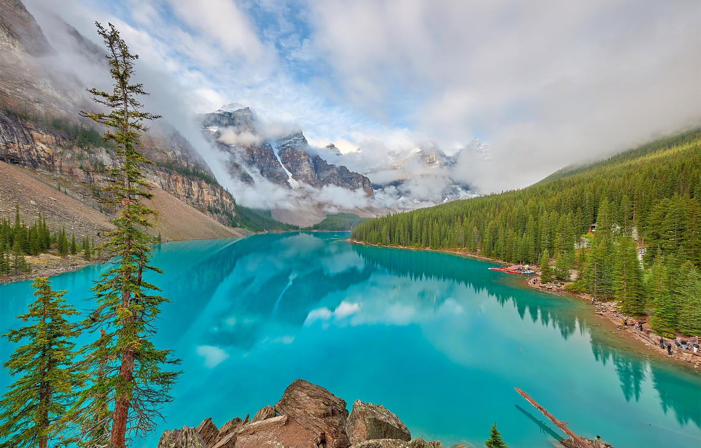 Фото обои небо, скала, озеро, фото, alberta