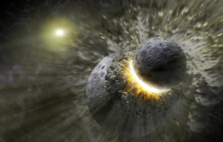 Фото обои планеты, катастрофа, удар, разрушение, столкновение
