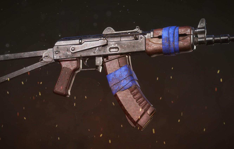 Фото обои рендеринг, оружие, тюнинг, Автомат, Gun, weapon, render, Калашников, рендер, 3d art, АКМ, Штурмовая винтовка, Русский, …