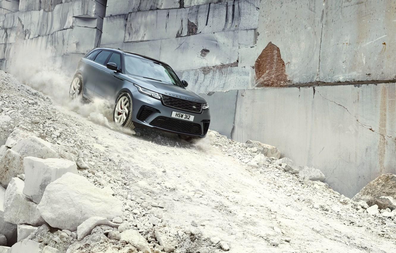 Фото обои камни, спуск, Машина, Land Rover, Range Rover, кроссовер, SVAutobiography, Velar, Dynamic Edition