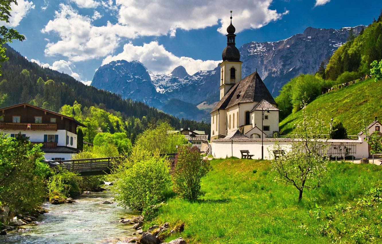 Фото обои деревья, горы, мост, дом, река, Германия, Бавария, церковь, Germany, Bavaria, Bavarian Alps, Баварские Альпы, Рамзау, …