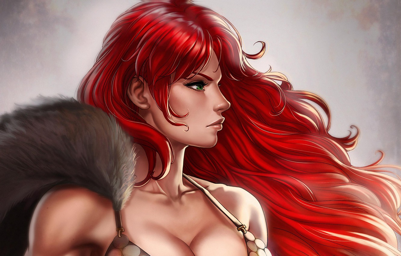 Фото обои девушка, воительница, Red Sonja, Рыжая Соня, by Dandonfuga