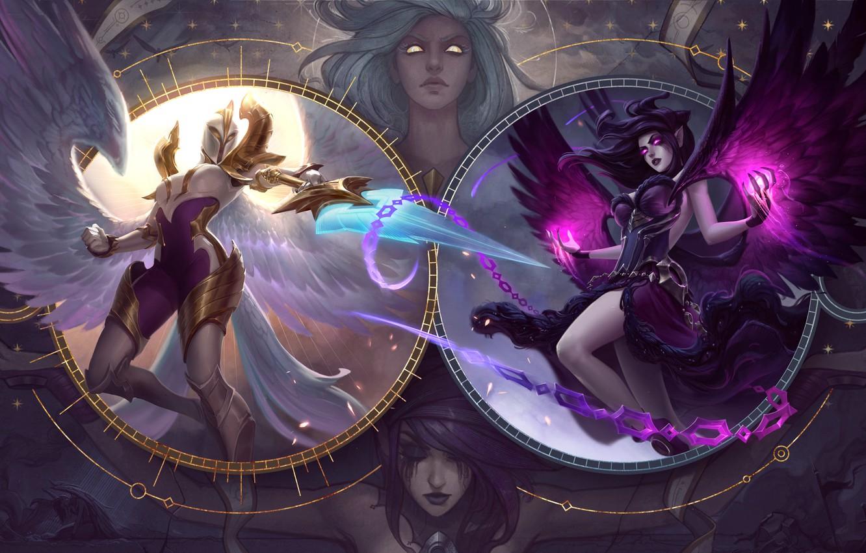 Фото обои light, sword, fantasy, game, magic, armor, weapon, girls, wings, angels, battle, League of Legends, digital …