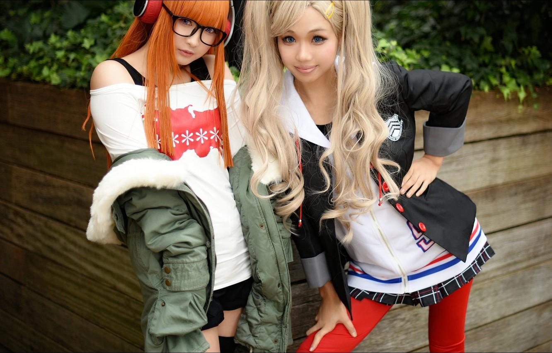 Фото обои наушники, style, Girls, two, asian girls
