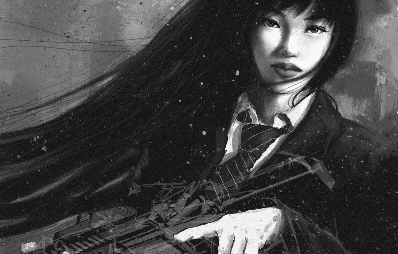 Фото обои взгляд, девушка, оружие, арт, галстук, черно-белое, форма, азиатка