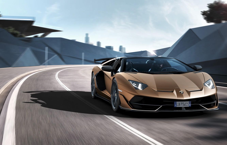 Фото обои машина, свет, движение, фары, Lamborghini, спорткар, roadster, Aventador, SVJ