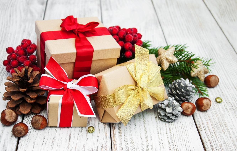 Фото обои украшения, Новый Год, Рождество, подарки, christmas, merry, decoration, gift box, fir tree, ветки ели