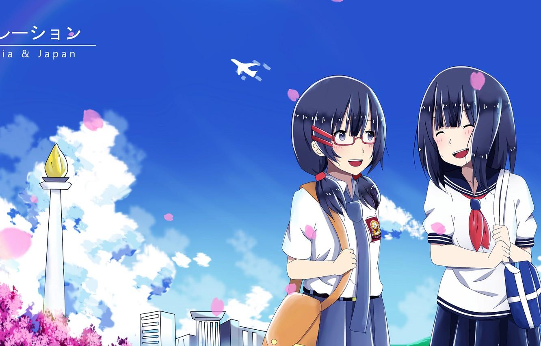 Фото обои небо, девочки, арт