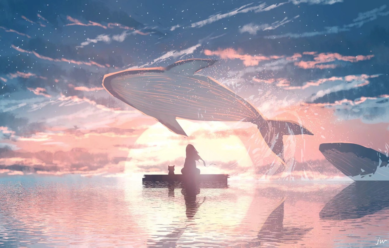 Фото обои кошка, вода, девушка, закат, киты