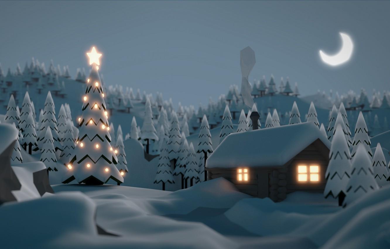 Фото обои зима, снег, праздник, ель, домик, гирлянда