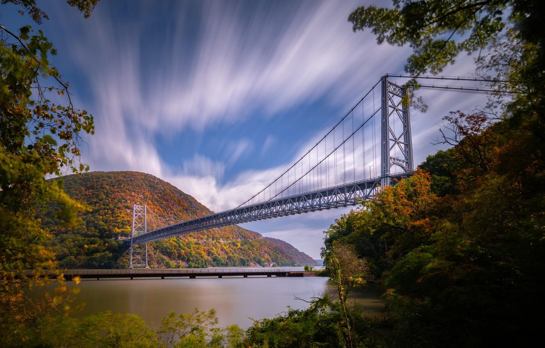Фото обои осень, небо, горы, мост, река, Hudson River, штат Нью-Йорк, Река Гудзон, New York State, Bear …