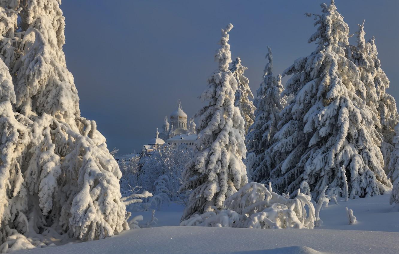 Фото обои зима, снег, деревья, пейзаж, природа, ели, храм, Белогорье, Пермский край, Максим Евдокимов, Белая Гора