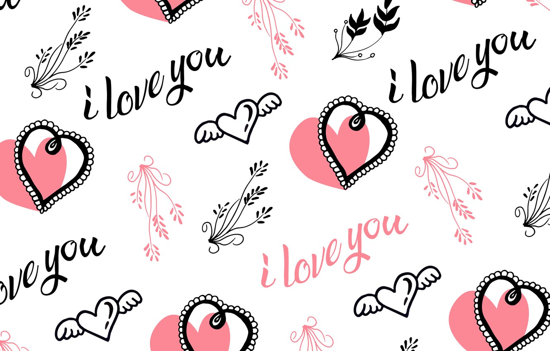 Фото обои надписи, Love, текстура, белый фон, I love you, Vintage, Heart