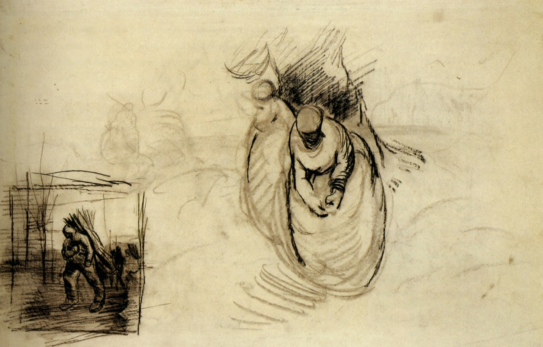 Фото обои Vincent van Gogh, Studies for Figures, Carrying Bundles of Wood
