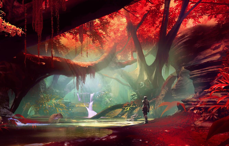 Фото обои fantasy, forest, river, trees, landscape, water, waterfall, digital art, artwork, concept art, fantasy art, Cyborg