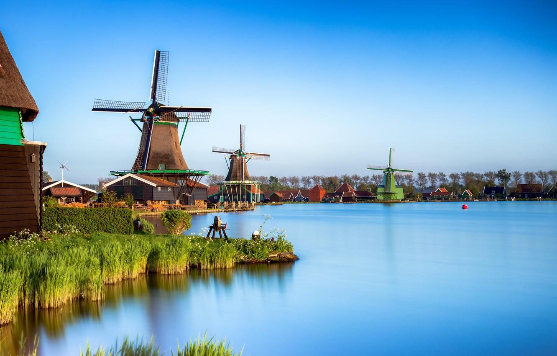Фото обои мельницы, Нидерланды, Zaanse Schans, Zaandam