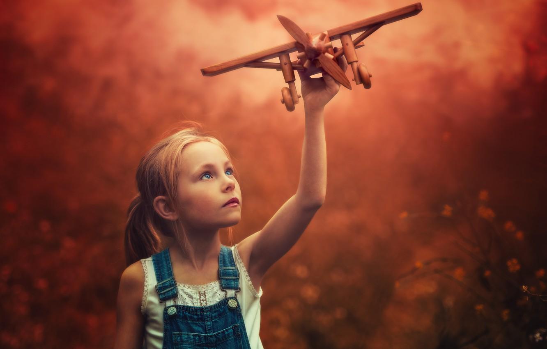 Фото обои фон, девочка, самолёт
