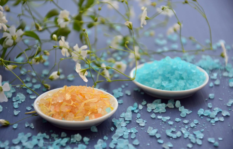 Обои морская соль, масло, цветы, ложка. Разное foto 9