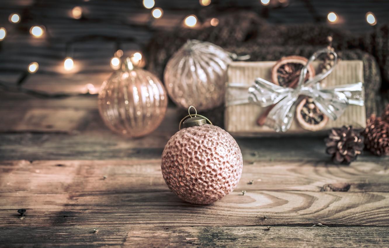 Фото обои украшения, lights, шары, Рождество, Новый год, christmas, balls, wood, винтаж, bokeh, decoration