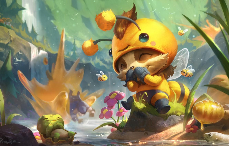 Фото обои игра, арт, пчёлка, League of Legends, детская, костюмчик, Riot Games, Esben Lash Rasmussen, Beemo - …