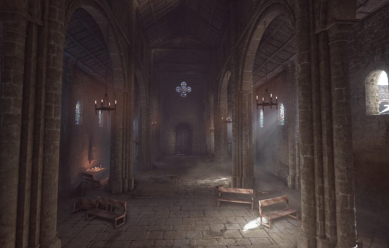 Фото обои церковь, колонны, a plague tale: innocence