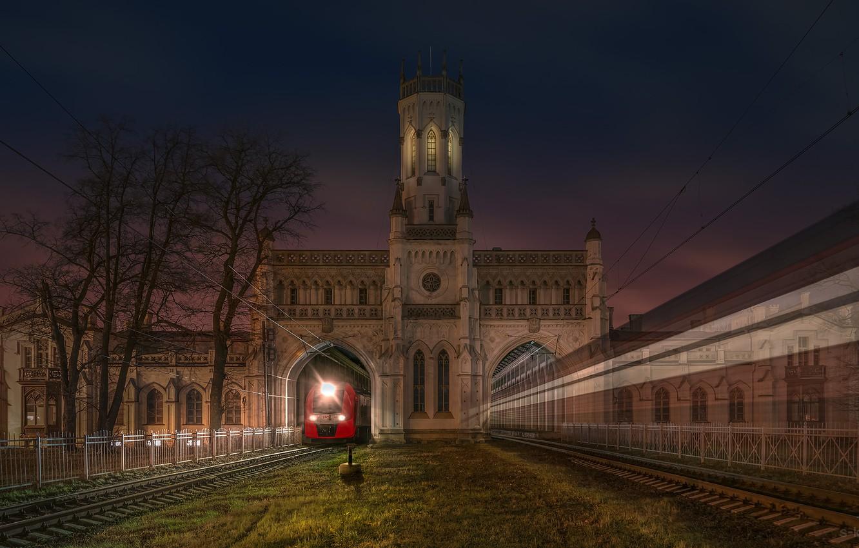 Обои ночь, станция, Железная дорога. Города foto 18