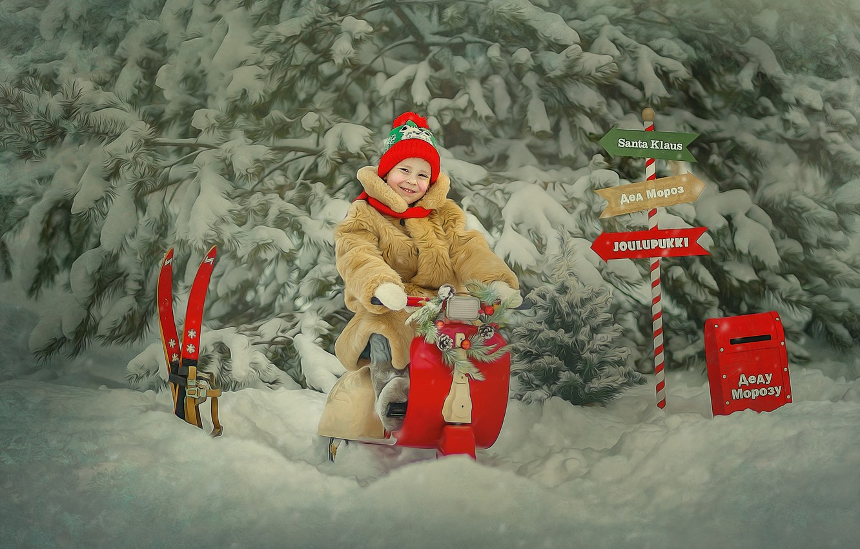 Фото обои зима, снег, деревья, природа, обработка, ели, девочка, ребёнок, указатели, Лысенкова Ксения