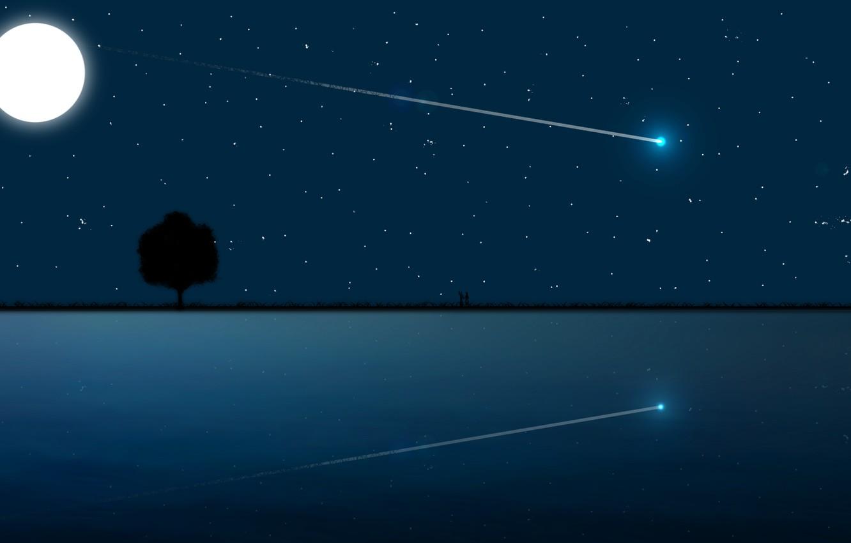 Фото обои Moon, love, sky, sea, landscape, night, art, stars, tree, romantic, mood, couple, moonlight, reflection, digital …