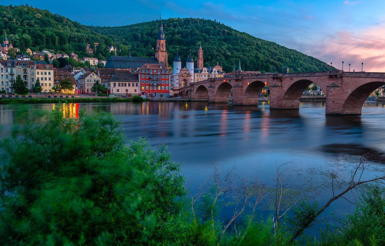 Фото обои мост, река, здания, дома, Германия, Germany, Старый мост, Баден-Вюртемберг, Baden-Württemberg, Heidelberg, Old Bridge, Гейдельберг, Neckar …