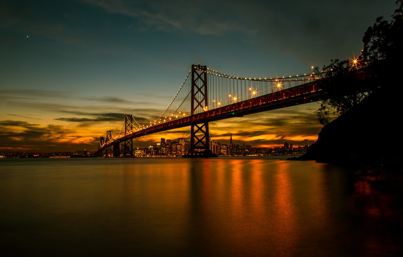 Фото обои lights, bridge, water, night, San Francisco