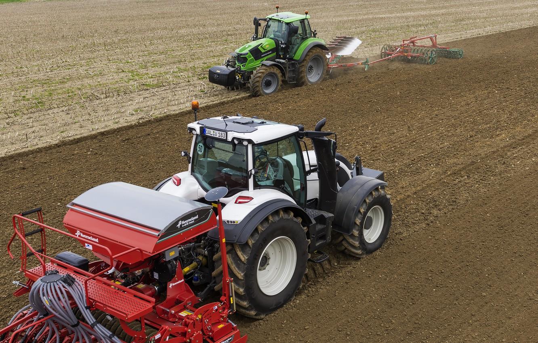 Фото обои поле, работа, тракторы