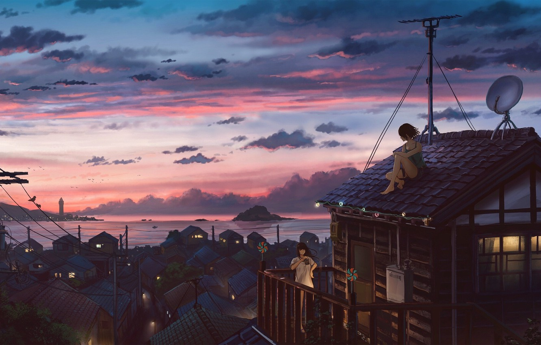 Фото обои море, закат, столбы, провода, антенна, деревня, свет в окнах, на крыше, розовые облака, две девочки, …