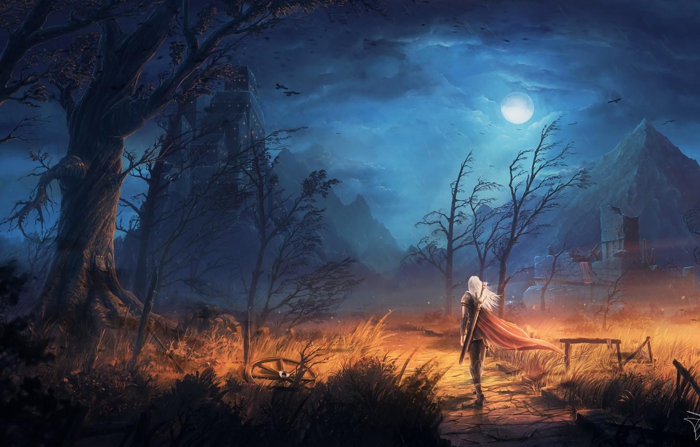 Фото обои moon, sword, fantasy, sky, trees, field, weapon, Warrior, night, mountains, clouds, birds, ruins, castle, digital …