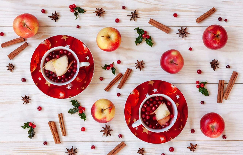 Фото обои ягоды, яблоки, Рождество, фрукты, корица, Christmas, winter, cup, fruit, berries, tea, apples, decoration, cinnamon, чашка …