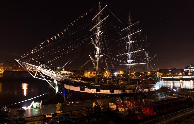 Фото обои море, ночь, корабль, пристань, парусник