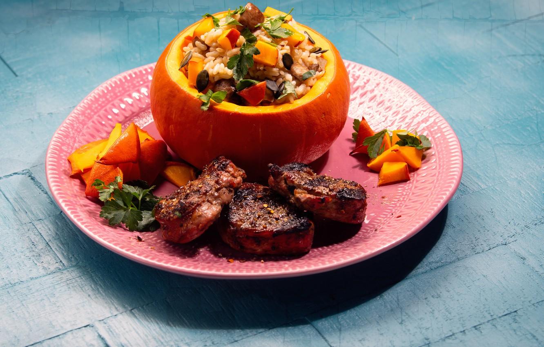 Фото обои фото, мясо, тыква, рис, овощи