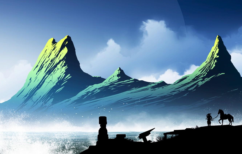 Фото обои Горы, Лошадь, Япония, Человек, Силуэт, Japan, Самурай, Пейзаж, Побережье, Samurai, Kvacm, by Kvacm, Aquarius Ruins, …