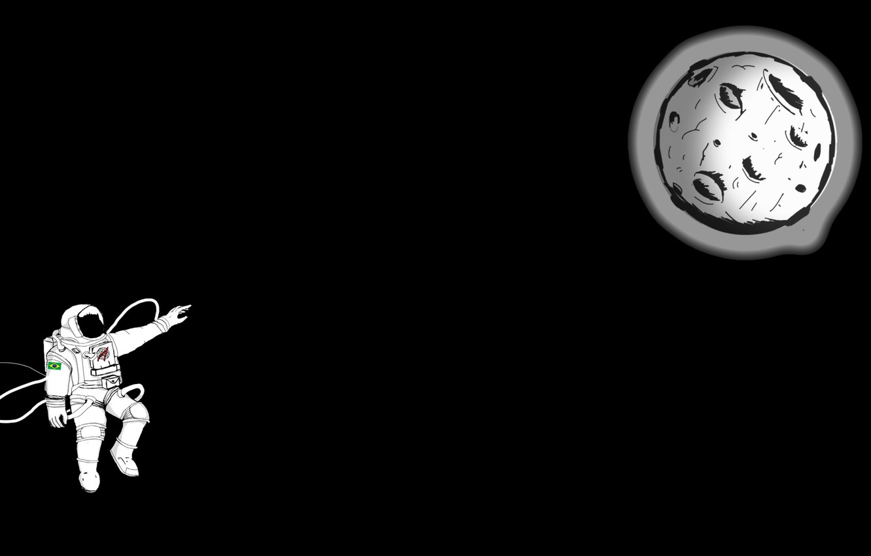 Фото обои Moon, minimalism, digital art, artwork, black background, situation, astronaut, spacesuit, simple background, hemlmet