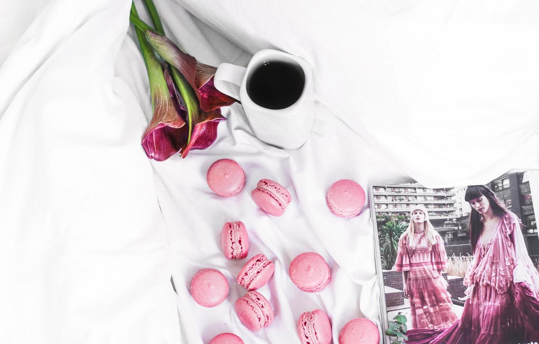 Фото обои flowers, bed, coffee, flatlay