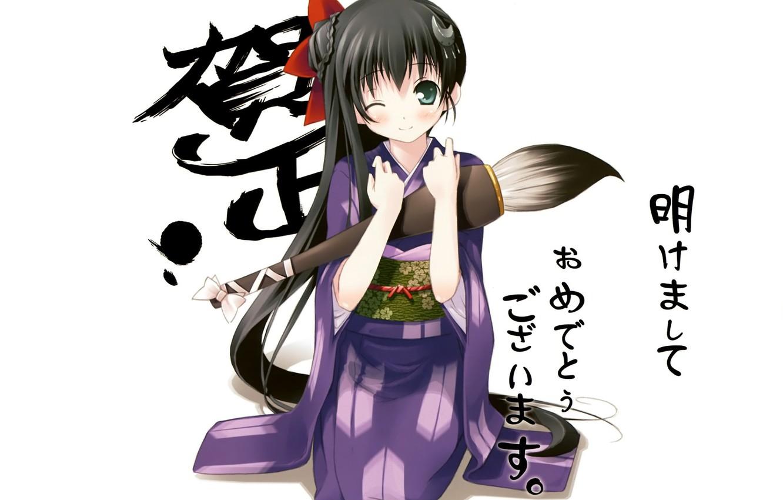 Фото обои девочка, иероглифы, кимоно, кисть, длинные волосы, подмигивание, на коленях, каллиграфические буквы, by kantoku