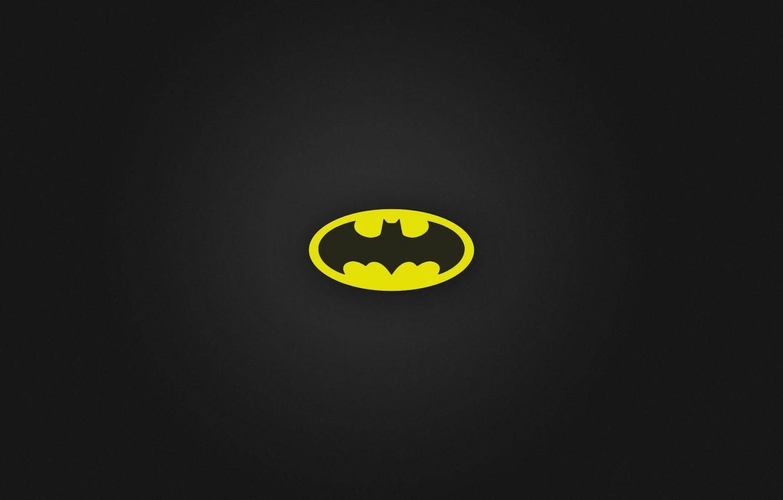 Фото обои logo, black, Batman, minimalism, yellow, black background, simple background