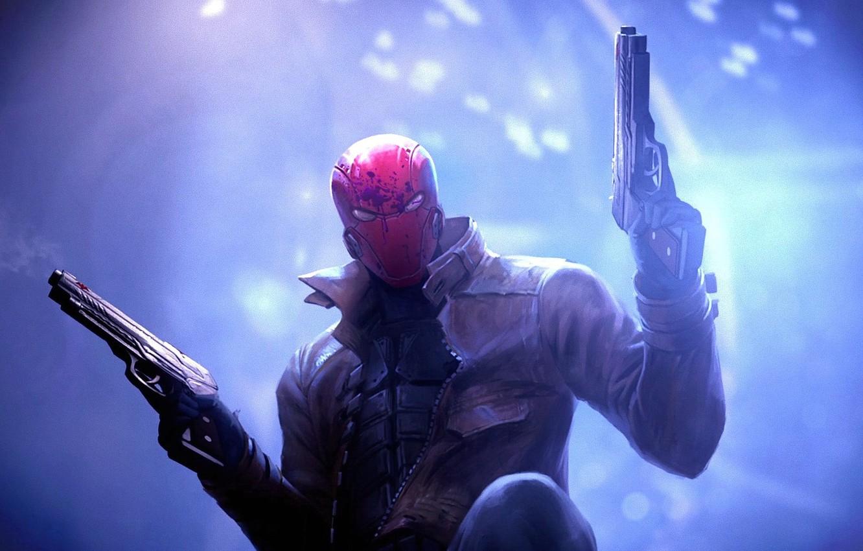Фото обои оружие, пистолеты, DC Comics, антигерой, Red Hood, Красный Колпак