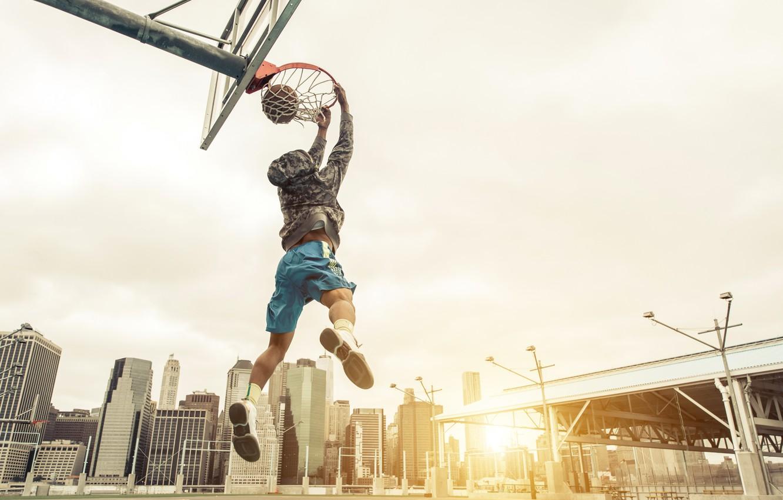 Фото обои фото, Мяч, Спорт, Прыжок, Баскетбол, Мужчина