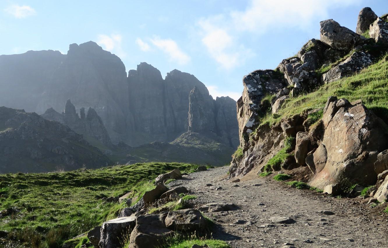 Фото обои небо, облака, природа, камни, скалы, тропа