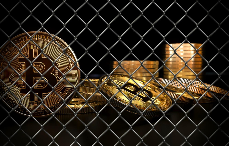 Фото обои сетка, grid, ban, coins, bitcoin, биткоин, btc