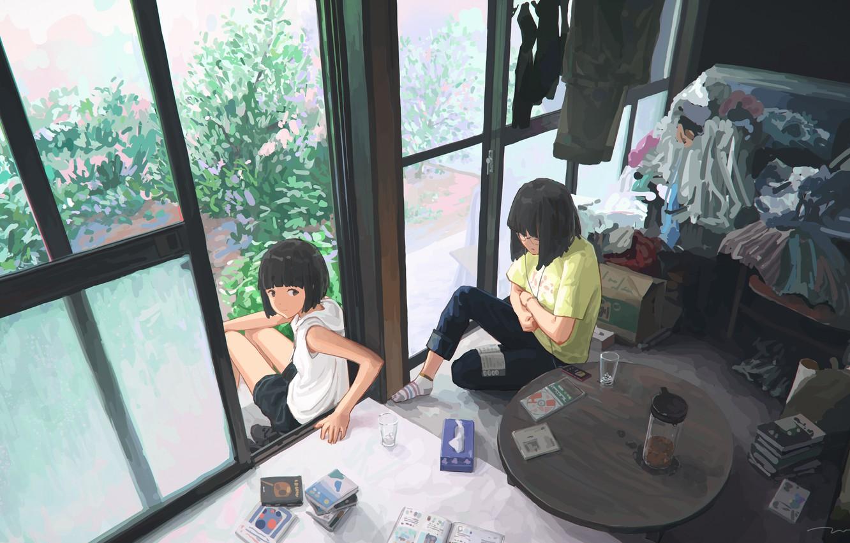 Фото обои комната, девочки, арт